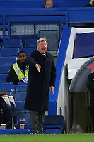 New AFC Wimbledon Manager, Wally Downes, leaves his seat in the stand and takes up a position alongside the away dug-out to issue instructions to his players during Chelsea Under-21 vs AFC Wimbledon, Checkatrade Trophy Football at Stamford Bridge on 4th December 2018