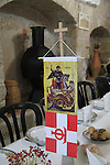 Israel, St. George's Day at the Greek Orthodox Church of St. George in Acco, the table at the reception