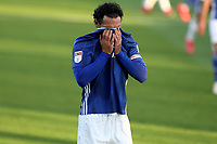 10th July 2020; Craven Cottage, London, England; English Championship Football, Fulham versus Cardiff City; Sean Morrison of Cardiff City covers his face with his shirt as a chance goes begging