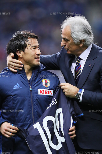 (L-R) Shinji Okazaki, Vahid Halilhodzic (JPN), MARCH 29, 2016 - Football / Soccer : FIFA World Cup Russia 2018 Asian Qualifier Second Round Group E match between Japan 5-0 Syria at Saitama Stadium 2002 in Saitama, Japan. Okazaki was made captain for the night to celebrate his 100th cap for his country. He is Japan's third all-time goalscorer with 48 goals in his 100 games. (Photo by Yohei Osada/AFLO SPORT)
