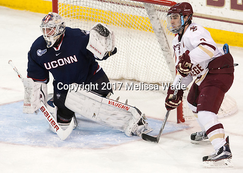 Rob Nichols (UConn - 31), Austin Cangelosi (BC - 9) - The Boston College Eagles defeated the visiting UConn Huskies 2-1 on Tuesday, January 24, 2017, at Kelley Rink in Conte Forum in Chestnut Hill, Massachusetts.