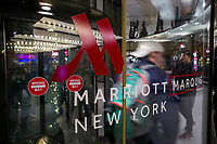 NEW YORK, NY - DECEMBER 1: People exit the Marriott International hotel in Times Square on December 1, 2018 in New York. The largest hotel chain in the world, The Marriott International, has announced that it had suffered a massive data breach that affected round 500 million customers worldwide.(Photo by Eduardo MunozAlvarez/VIEWpress)