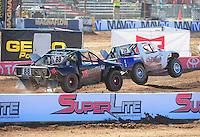 Apr 16, 2011; Surprise, AZ USA; LOORRS driver Patrick Clark (25) leads Austin Kimbrell (88) during round 3 at Speedworld Off Road Park. Mandatory Credit: Mark J. Rebilas-.