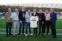 Lee Trundle of Swansea City with shirt sponsors during the Sky Bet Championship match between Swansea City and Derby County at the Liberty Stadium in Swansea, Wales, UK. Wednesday 01 May 2019