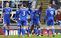 Leicester City's James Maddison's celebrates with team-mates after scoring the opening goal from a free-kick<br /> <br /> Photographer Rich Linley/CameraSport<br /> <br /> The Premier League - Burnley v Leicester City - Saturday 16th March 2019 - Turf Moor - Burnley<br /> <br /> World Copyright © 2019 CameraSport. All rights reserved. 43 Linden Ave. Countesthorpe. Leicester. England. LE8 5PG - Tel: +44 (0) 116 277 4147 - admin@camerasport.com - www.camerasport.com