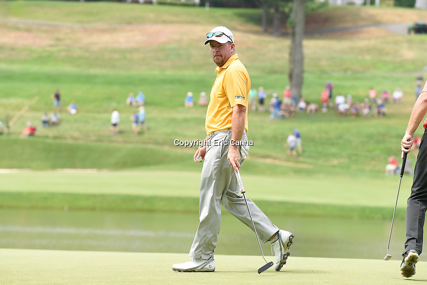August 6, 2016: Robert Garrigus walks on the 15th green during day three of the PGA Travelers Championship held at TPC River Highlands in Cromwell CT. Eric Canha/CSM