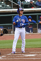 Iowa Cubs third baseman Christian Villanueva (16) at bat during a Pacific Coast League game against the Colorado Springs Sky Sox on May 11th, 2015 at Principal Park in Des Moines, Iowa.  Colorado Springs defeated Iowa 13-7.  (Brad Krause/Four Seam Images)