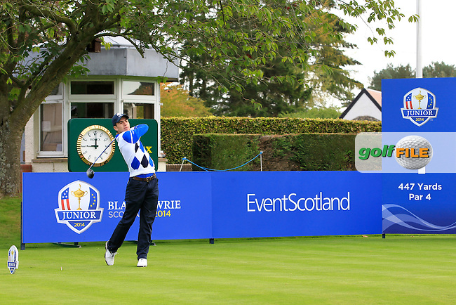 Ivan Cantero Gutierrez (ESP) on the 1st tee during Day 2 Singles for the Junior Ryder Cup 2014 at Blairgowrie Golf Club on Tuesday 23rd September 2014.<br /> Picture:  Thos Caffrey / www.golffile.ie