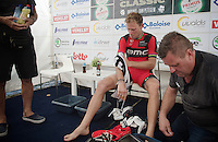 Retiring Thor Hushovd (NOR/BMC) just finished his last race as a pro rider. He will be getting a proper podium farewell and therefore prepares accordingly backstage.<br /> <br /> GP Impanis 2014