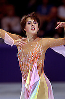 "Irina Slutskaya of Russia performing in October, 2001 during early warm-up competition called ""Masters of Figure Skating"", before Salt Lake City 2002 Olympics . (Photo by Tom Theobald)"
