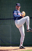 Boston Red Sox pitcher Frank Viola in the bullpen during spring training circa 1992 at Dunedin Stadium in Dunedin, Florida.  (MJA/Four Seam Images)