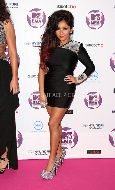 WWW.ACEPIXS.COM . . . . .  ..... . . . . US SALES ONLY . . . . .....November 6 2011, Belfast....Nicole Polizzi aka Snooki arriving at the MTV Europe Music Awards at the Odyssey Arena on November 6 2011 in Belfast....Please byline: FAMOUS-ACE PICTURES... . . . .  ....Ace Pictures, Inc:  ..Tel: (212) 243-8787..e-mail: info@acepixs.com..web: http://www.acepixs.com