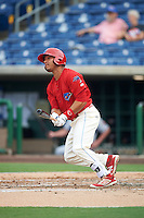 Clearwater Threshers left fielder Jiandido Tromp (16) at bat during a game against the Lakeland Flying Tigers on August 5, 2016 at Bright House Field in Clearwater, Florida.  Clearwater defeated Lakeland 3-2.  (Mike Janes/Four Seam Images)