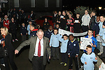 Frank Gallagher and Imelda Munster pass as Children protest outside council meeting about lack of changing rooms at Moneymore FC...(Photo credit should read Jenny Matthews www.newsfile.ie)....This Picture has been sent you under the conditions enclosed by:.Newsfile Ltd..The Studio,.Millmount Abbey,.Drogheda,.Co Meath..Ireland..Tel: +353(0)41-9871240.Fax: +353(0)41-9871260.GSM: +353(0)86-2500958.email: pictures@newsfile.ie.www.newsfile.ie.