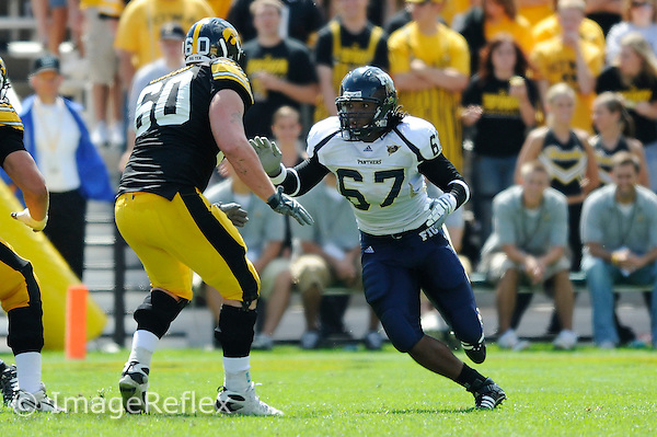 6 September 2008:  FIU offensive lineman Sean Kramer (67) rushes in the second half of the Iowa 42-0 victory over FIU at Kinnick Field in Iowa City, Iowa.