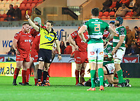 Referee Andy Brace shows the yellow card to Benetton Treviso's Federico Zani.<br /> <br /> Photographer Dan Minto/CameraSport<br /> <br /> Guinness PRO12 Round 19 - Scarlets v Benetton Treviso - Saturday 8th April 2017 - Parc y Scarlets - Llanelli, Wales<br /> <br /> World Copyright &copy; 2017 CameraSport. All rights reserved. 43 Linden Ave. Countesthorpe. Leicester. England. LE8 5PG - Tel: +44 (0) 116 277 4147 - admin@camerasport.com - www.camerasport.com