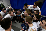 GREENSBORO, NC - MARCH 17: Members of the Queens swimming and dive team huddle together to get pumped up before the start of the Division II Men's and Women's Swimming & Diving Championship held at the Greensboro Aquatic Center on March 17, 2018 in Greensboro, North Carolina. (Photo by Mike Comer/NCAA Photos/NCAA Photos via Getty Images)