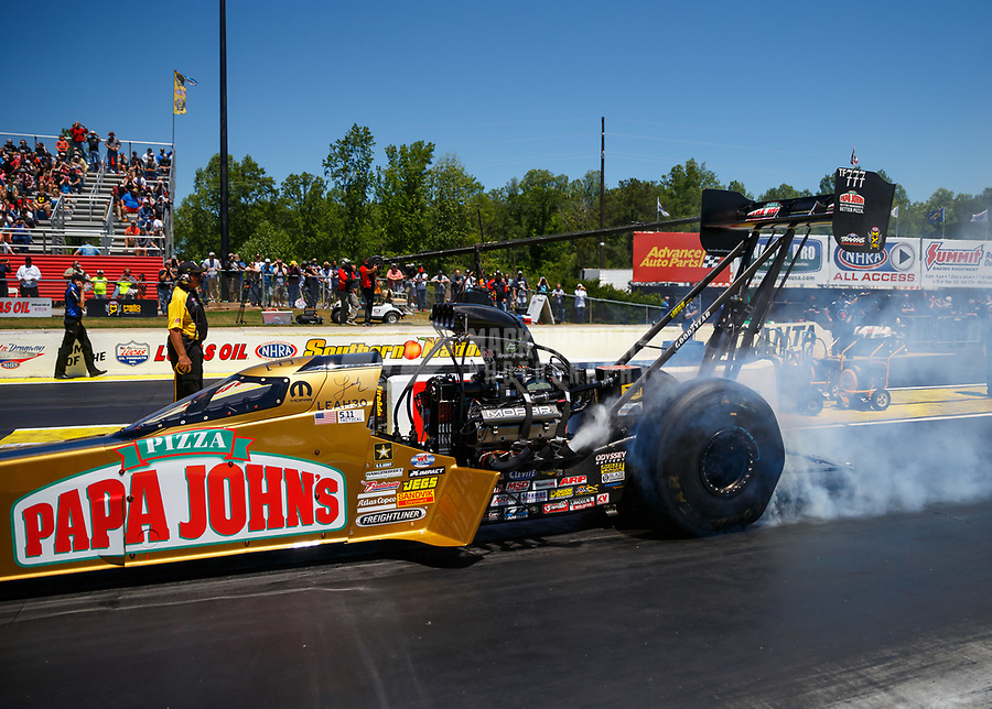 May 7, 2017; Commerce, GA, USA; NHRA top fuel driver Leah Pritchett during the Southern Nationals at Atlanta Dragway. Mandatory Credit: Mark J. Rebilas-USA TODAY Sports