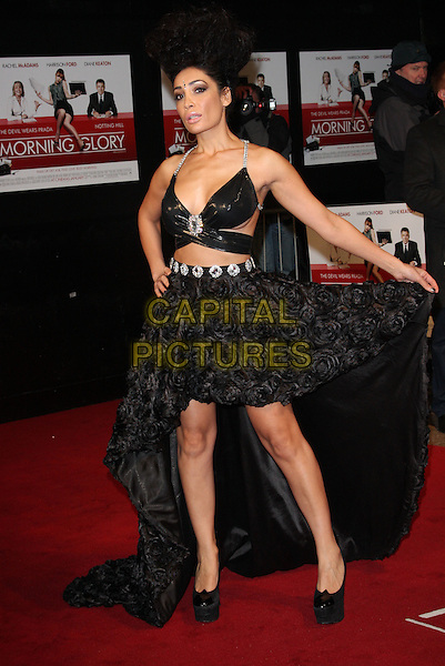 SOFIA HAYAT .UK Premiere of 'Morning Glory' at the Empire, Leicester Square, London - January 11th 2011..full length hand on hip back dress long maxi train ruffles cut out bra platform shoes shiny silver straps away .CAP/ROS.©Steve Ross/Capital Pictures