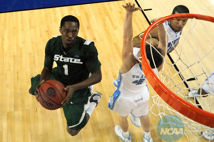 2009 APR 06: Kalin Lucas (1) of Michigan State drives to the hoop during the Division I Men's Final Four Basketball Championship Game held at Ford Field in Detroit, MI. North Carolina defeated Michigan St. 89-72 to claim the championship title. Chris Steppig/NCAA Photos.