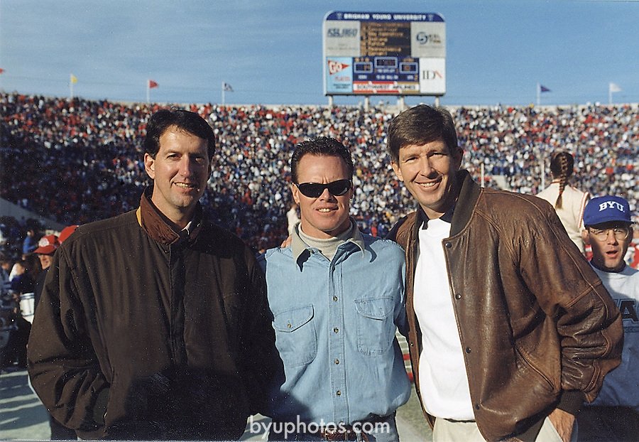 Wilson, Mcmahon, Nielsen<br /> <br /> Marc Wilson, Jim MacMahon, Gifford Nielson on the field at a football game<br /> <br /> Photography by: Mark Philbrick/BYU<br /> <br /> Copyright BYU PHOTO 2008<br /> All Rights Reserved<br /> 801-422-7322<br /> photo@byu.edu
