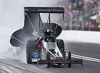 May 1, 2016; Baytown, TX, USA; NHRA top fuel driver Scott Palmer during the Spring Nationals at Royal Purple Raceway. Mandatory Credit: Mark J. Rebilas-USA TODAY Sports