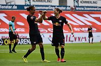 24th May 2020, Opel Arena, Mainz, Rhineland-Palatinate, Germany; Bundesliga football; Mainz 05 versus RB Leipzig; Yussuf Poulsen (RB Leipzig), and Marcel Sabitzer (RB Leipzig) celebrate their goal for 3-0