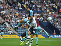 Burnley's Sam Vokes battles with Preston North End's Calum Woods<br /> <br /> Photographer Mick Walker/CameraSport<br /> <br /> Football Pre-Season Friendly - Preston North End  v Burnley FC  - Monday 23st July 2018 - Deepdale  - Preston<br /> <br /> World Copyright &copy; 2018 CameraSport. All rights reserved. 43 Linden Ave. Countesthorpe. Leicester. England. LE8 5PG - Tel: +44 (0) 116 277 4147 - admin@camerasport.com - www.camerasport.com