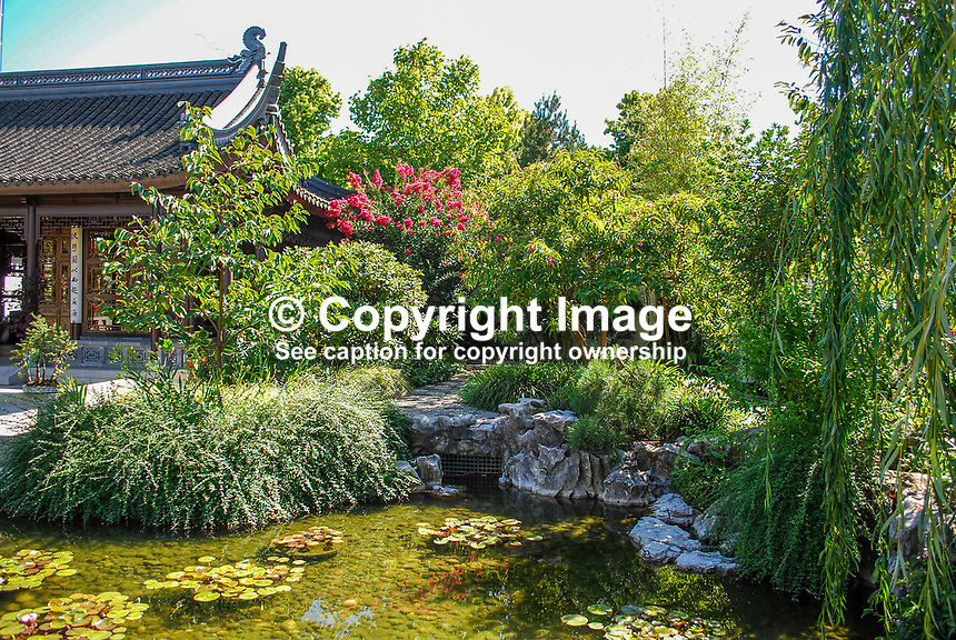 Japanese Garden, Portland, Oregon, USA, water feature, pond, shrubs, flowers, pagoda, 200809040942..Copyright Image from Victor Patterson, 54 Dorchester Park, Belfast, N Ireland, BT9 6RJ...Tel: +44 28 9066 1296.Mob: +44 7802 353836.Email: victorpatterson@mac.com..IMPORTANT: Please go to www.victorpatterson.com and click on my Terms and Conditions of use.