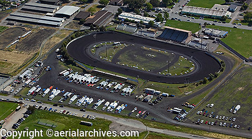 aerial photograph Marin Sonoma fairgrounds race track, Petaluma, Sonoma county, California