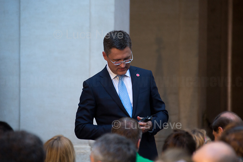 Alexander Novak (Minister of Energy of the Russian Federation).<br /> <br /> Russian Delegation.<br /> <br /> Rome, 04/07/2019. Today, the four-time President of the Russian Federation, Vladimir Putin, visited Palazzo Chigi (Official Residence of the Italian Prime Minister and official meeting place of the Council of the Ministers) where he had a private meeting and a press conference with the Italian Prime Minister, Giuseppe Conte. During his visit to Italy, President Putin met Pope Francis, the President of the Italian Republic, Sergio Mattarella, and his old friend and Italian politician, Silvio Berlusconi.   <br /> <br /> Footnotes and Links:<br /> For a Video of the Press Conference please click here (Source, Palazzo Chigi on Youtube): https://youtu.be/4Bdssi0L9PI