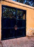 Gate with large lock. Santa Marta, Colombia, Caribbean. 1976