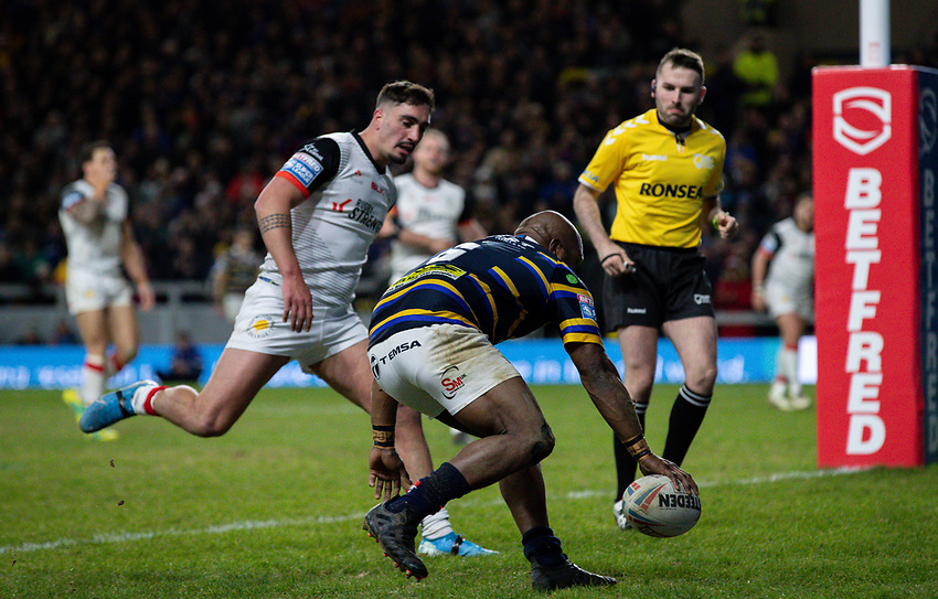 Leeds Rhinos' Rob Lui scores his side's fourth try<br /> <br /> Photographer Alex Dodd/CameraSport<br /> <br /> Betfred Super League Round 6 - Leeds Rhinos v Toronto Wolfpack - Thursday 5th March 2020 - Headingley - Leeds<br /> <br /> World Copyright © 2020 CameraSport. All rights reserved. 43 Linden Ave. Countesthorpe. Leicester. England. LE8 5PG - Tel: +44 (0) 116 277 4147 - admin@camerasport.com - www.camerasport.com