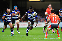 Semesa Rokoduguni of Bath Rugby puts boot to ball. Aviva Premiership match, between Bath Rugby and Newcastle Falcons on September 10, 2016 at the Recreation Ground in Bath, England. Photo by: Patrick Khachfe / Onside Images
