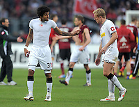 FUSSBALL   1. BUNDESLIGA  SAISON 2011/2012   24. Spieltag 1. FC Nuernberg - Borussia Moenchengladbach      04.03.2012 Dante Bonfim (li,) mit Mike Hanke (Borussia Moenchengladbach)