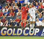 Francisco Palacios (2) of Panama and Daniel Lovitz (16) of the United States vie for a header during their Gold Cup match on June 26, 2019 at Children's Mercy Park in Kansas City, KS.<br /> Tim VIZER/AFP