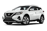 Stock pictures of low aggressive front three quarter view of 2019 Nissan Murano SL 5 Door SUV Low Aggressive