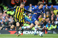 Jose Holebas of Watford takes on Chelsea's David Luiz during Chelsea vs Watford, Premier League Football at Stamford Bridge on 5th May 2019