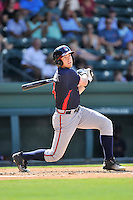 Second baseman Luke Dykstra (4) of the Rome Braves bats in a game against the Greenville Drive on Sunday, July 31, 2016, at Fluor Field at the West End in Greenville, South Carolina. Rome won, 6-3. (Tom Priddy/Four Seam Images)