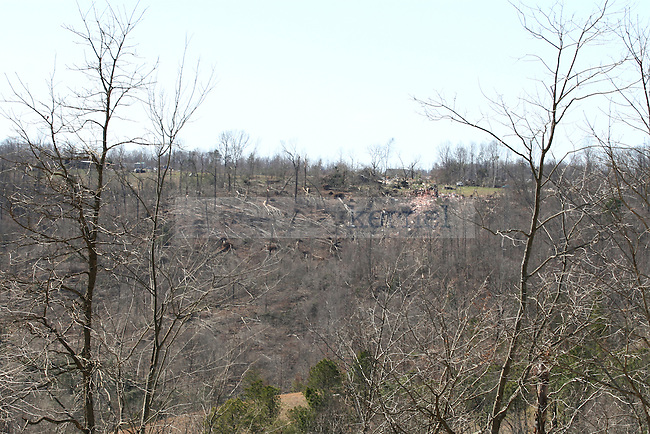 The path of the March 2, 2012 tornado is seen on another hillside. Photo by Latara Appleby | Staff ..