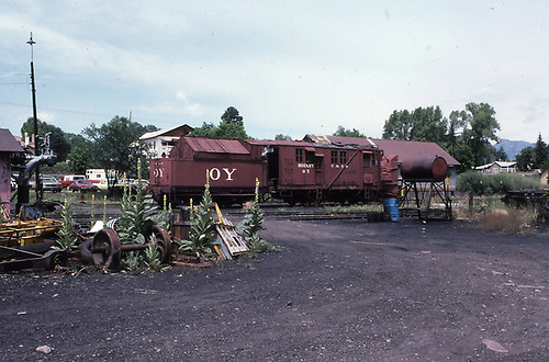 3/4 rear right-side view of C&amp;TS rotary snowplow #OY in the Chama yards.<br /> C&amp;TS  Chama, NM