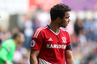 A dejected Fábio of Middlesbrough leaves the field after being substituted after becoming concust during the Premier League match between Swansea City and Middlesbrough at The Liberty Stadium, Swansea, Wales, UK.