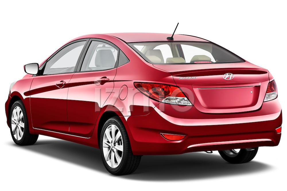 Rear three quarter view of a 2012 Hyundai Accent GLS Sedan