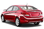 Rear three quarter view of a 2012 Hyundai Accent GLS Sedan