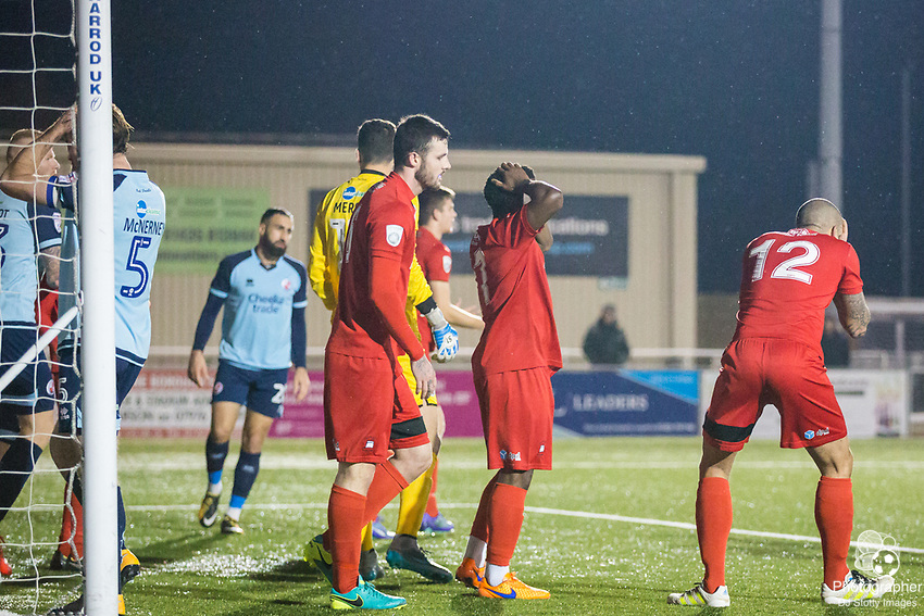 Ian Simpemba (Eastbourne) disappointed after Borough's attempt at goal during Parafix Sussex Senior Cup Quarter Final between Eastbourne Borough FC & Crawley Town FC on Tuesday 09 January 2018 at Priory Lane. Photo by Jane Stokes (DJ Stotty Images)