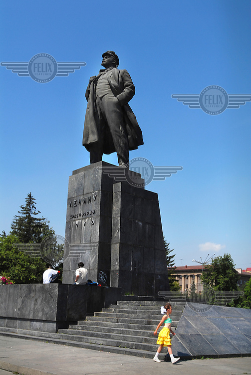A statue of Lenin in the city centre of Krasnoyarsk.