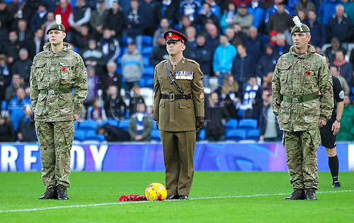 07.11.2015. Cardiff City Stadium, Cardiff, Wales. Skybet Championship. Cardiff versus Reading. Soldier's lay a wreath for Remembrance Day before the game.