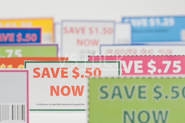 Close-up of coupons