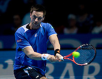 Robin Soderling (SWE) against Juan Martin del Potro (ARG)  in the semi-finals of the Barclays ATP World Tour FInals. Del Potro beat Soderling 6-7 6-3 7-6..International Tennis - Barclays ATP World Tour Finals - O2 Arena - London - Day 7 - Sat 28 Nov 2009..© Frey  - AMN IMAGES, 1st Floor, Barry House, 20-22 Worple Road, London, SW19 4DH. Tel +44 20 8947 0100