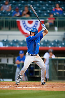 Dunedin Blue Jays second baseman Cavan Biggio (4) at bat during a game against the Florida Fire Frogs on April 10, 2017 at Osceola County Stadium in Kissimmee, Florida.  Florida defeated Dunedin 4-0.  (Mike Janes/Four Seam Images)